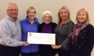 Norman Picton, Chair, Bay Treasure Chest presenting $500 cheque to Peggy's Cove Festival of the Arts represented by (L to R) Suzanne Day, Margaret Jones Callahan, Mary Lynne MacKay, and Sue George